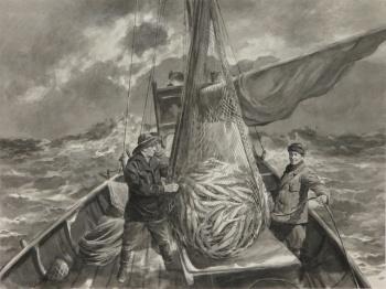 Vasilijs Kovaļovs. Zvejnieki jūrā. 1950.gadu vidus. Foto: Eva Ližbovska